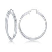 Sterling Silver Square-Tube Double Twisted 37mm Round Hoop Earrings