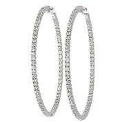 Diamond Hoop, 14kt White gold Diamond Hoop