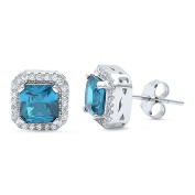 Halo Stud Post Earring Princess Cut Square Simulated Blue Aquamarine Round CZ 925 Sterling Silver
