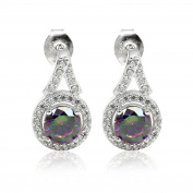 Halo Dangling Stud Wedding Bridal Earring Round Cut Rainbow Cubic Zirconia Round CZ 925 Sterling Silver
