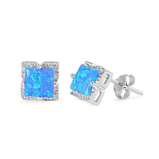 Halo Stud Post Earring Princess Cut Square Lab Created Blue Opal 925 Sterling Silver