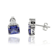 Accent Stud Post Earrings Emerald Cut Simulate Blue Tanzanite Heart Cubic Zirconia 925 Sterling Silver