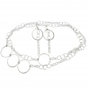 Sterling Silver Flat Hammered Circle Large Links Long Necklace Earrings 110cm