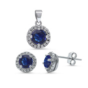 Halo Jewellery Set Pendant Stud Earrings Round Cut Simulated Deep Blue Sapphire Round CZ 925 Sterling Silver