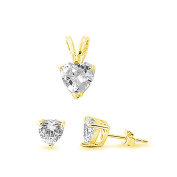 Jewellery Set Pendant Stud Earring Heart Shape Cubic Zirconia Yellow Gold Plated 925 Sterling Silver