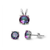 Solitaire Jewellery Set Pendant Stud Earring Round Rainbow Cubic Zirconia 925 Sterling Silver