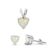 Solitaire Jewellery Set Pendant Stud Earring Heart Shape Lab Created White Opal 925 Sterling Silver
