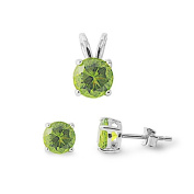 Solitaire Jewellery Set Pendant Stud Earring Round Simulated Green Peridot 925 Sterling Silver