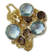 Blue Topaz & Smoky Topaz 43cm Necklace 14k Yellow Gold Chain with Lobster Lock