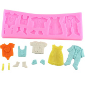 Vivian 3D DIY Baby Shower Clothes Silicone Fondant Mould Chocolate Decor Cake Baking Tools