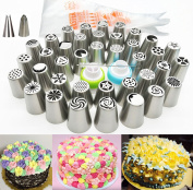 Russian Piping Tips 62 Pcs Set - Kootips Cake/Cupcake Decorating Icing Tips - 37 Extra Large Stainless Steel Pastry Nozzle Tips and 2 Leaf Tips, 2 XL Coupler and a Clear Rush