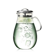 Artcome 1890ml Large Heat Resistant Water Carafe with Stainless Steel Lid, Borosilicate Glass Beverage Pitcher with Lid