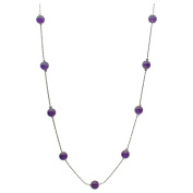 Amethyst Stone Beads Station Sterling Silver Italian Chain Necklace