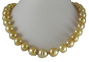 South Sea Golden Baroque Pearl Necklace 14.7x14.8mm with 14k White Gold Clasp