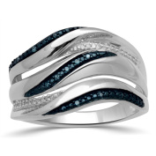 Sterling Silver 1/10ct Blue & White Diamond Stackable Ring, Size 7