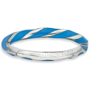 Sterling Silver Stackable Expressions Twisted Blue Enamelled Ring