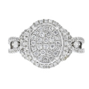 14k White Gold and Pave Set Diamond Oval Ring