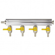 Kegco Brass 4-Way Kegerator Beer Gas / Air Distributor