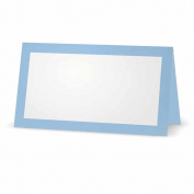 Baby Blue Place Cards - Flat or Tent - 10 or 50 Pack - White Blank Front with Solid Colour Border - Placement Table Name Seating Stationery Party Supplies Occasion or Dinner Event