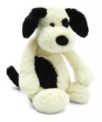 Jellycat Large Black and Cream Bashful Puppy Plush Stuffed Animal