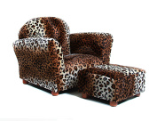 Fantasy Furniture Roundy Chair with Ottoman, Leopard