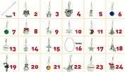 Christmas Advent Calendar Charm Necklace Bracelet DIY 24 Charms Set Fashion Jewellery For Christmas Party