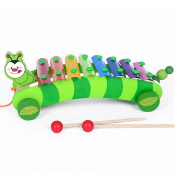 GlowSol 8-Note Caterpillar Xylophone Hand Knock Piano Wooden Educational Toy for Baby Kids
