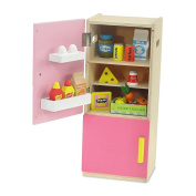 46cm Doll Furniture | Brightly Coloured Pink Wooden Refrigerator with Freezer, Includes 20 Colourful Wooden Food Accessories | Fits American Girl Dolls