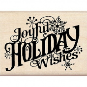 Inkadinkado Christmas Mounted Rubber Stamp, 7.6cm by 5.7cm , Joyful Holiday Wishes
