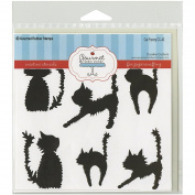 Gourmet Rubber Stamps Cat Frenzy Stencil, 15cm x 15cm