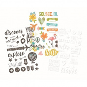 Simple Stories 6233 You Are Here! Clear Stickers Sheets (3 Pack), 10cm x 15cm , Grey/White