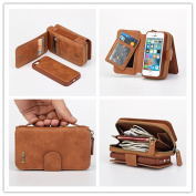 Case For iPhone 5/5S / iPhone SE ,Charminer Zipper Leather Wallet Detachable Magnetic i5s Case Purse Clutch with Flip Credit Card Holder Cover For iPhone 5/5S iPhone SE Flip Wallet