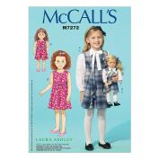 McCall's Patterns M7272 Children's/Girls'/46cm Dolls' Blouse & Jumpers, CL