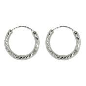 Sterling Silver Diamond Cut Hinged Continuous Endless Hoop Earrings,
