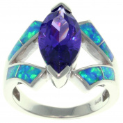 Jewellery Trends Sterling Silver Created Blue Opal and Purple Cubic Zirconia Marquise Design Ring Whole Sizes 5 - 10