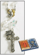 Crystal Beads Archangel Angel Rosary Set with Two Tone Angel Centrepiece and Crucifix with Dangle Medal Michael, Gabriel, Uriel and Raphael