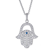 Sterling Silver Pendant Necklace with CZ Crystal Hamsa Hand Evil Eye Charm, 925 Silver, Adjustable Chain Length 41cm - 46cm , with Jewellery Box