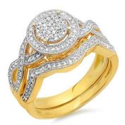 0.50 Carat (ctw) 10K Yellow Gold Round Diamond Ladies Micro Pave Engagement Ring Set 1/2 CT