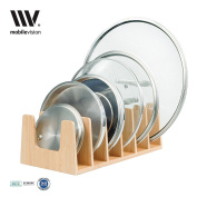 MobileVision Bamboo Pot Lid Holder Organiser for Storage in Cabinets or Kitchen Countertops and Cupboards