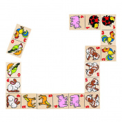 Domino Animal Motifs In Wooden Box Game
