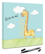 "Canvas Kudos ""Baby Giraffe"" Decorative Sign, 80cm by 80cm"
