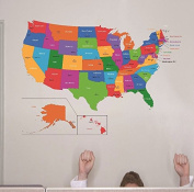"Design with Vinyl RAD 1262 7.6cm United States Of America World Map Classroom School Kids Teacher Students Colourful Learning Teaching"" Vinyl Wall Decal, 50cm x 80cm"