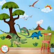 My Wonderful Walls Dinosaur Wall Sticker Kit Easy,Peel,Stick,Repositionable and Removable Wall Decals, Multicoloured