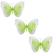 The Butterfly Grove Sasha Mesh/Nylon 3D Hanging Decoration, Green, Small 13cm x 10cm - for weddings, girl's bedrooms, baby nursery rooms, Birthday Parties, Craft - Set of 3s