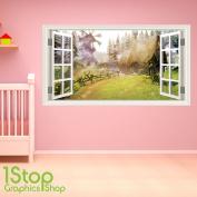 FAIRYTALE WALL STICKER FULL COLOUR - GIRLS BOYS ENCHANTED BEDROOM WINDOW W56 Size
