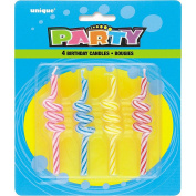 Striped Coil Birthday Candles, 4ct