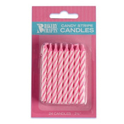 Oasis Supply Candy Stripe Birthday Candles, 6.4cm , Pink
