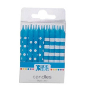 Oasis Supply Stripes and Dots Birthday Candles, 6.4cm , Blue