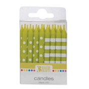 Oasis Supply Stripes and Dots Birthday Candles, 6.4cm , Lime Green