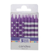 Oasis Supply Stripes and Dots Birthday Candles, 6.4cm , Purple